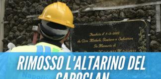Rimosso l'altarino per il capoclan a Napoli, era in un'area archeologica [Fonte foto: La Repubblica]