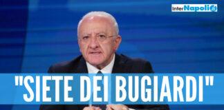 """Covid e vaccini in Campania, De Luca dopo i dati in tv: """"Siete bugiardi"""""""