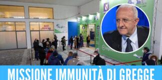 Vaccini covid, De Luca fissa l'obiettivo Immunità di gregge