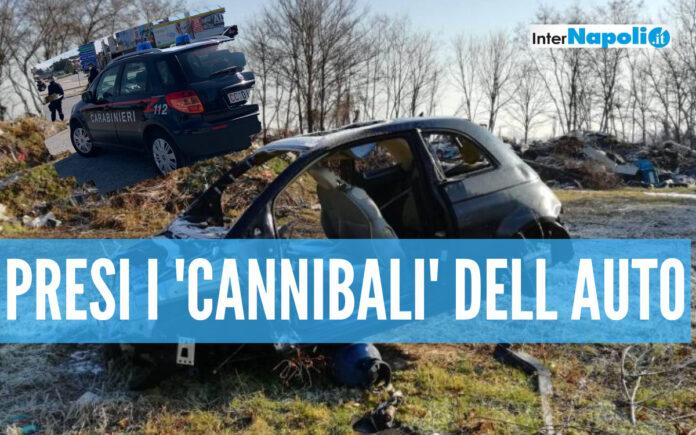 Auto 'cannibalizzate' e date alle fiamme, 2 rom di Giugliano incastrati dalle telecamere