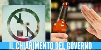 Nuovo Dpcm, sì alla vendita di alcolici per alcune attività dopo le 18