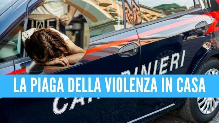 picchia moglie carabinieri figli violenza casa