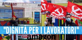 Sciopero Amazon davanti la sede di Arzano, foto Albangela Celentano