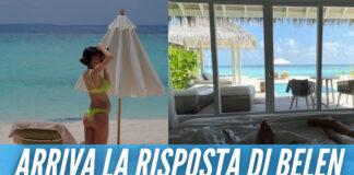 Belen alle Maldive nell'hotel da 1500 euro a notte, polemiche sui social: «Voi in vacanza e noi a casa»