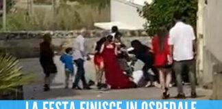 Frame video della rissa al matrimonio in Salento