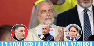 Aurelio De Laurentiis, nei cerchi i nomi degli allenatori in orbita Napoli: Galtier, Spalletti e Inzaghi (da sinistra)