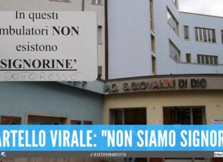 """Frattamaggiore, il cartello virale nell'Asl: """"Qui non esistono signorine"""""""