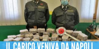 Due arresti e 60 Kg di hashish sequestrati, il carico veniva da Napoli