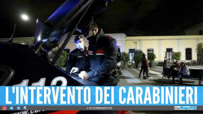 L'intervento dei carabinieri per bloccare le feste abusive