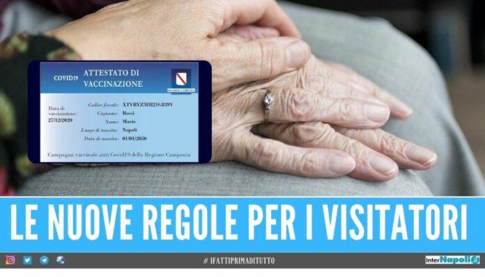 card vaccinale visite familiare campania casa di riposo residenza anziani rsa residenze sanitarie assistenziali