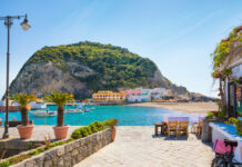 Beautiful,Coast,Of,Village,Sant'angelo,,Giant,Green,Rock,In,Blue