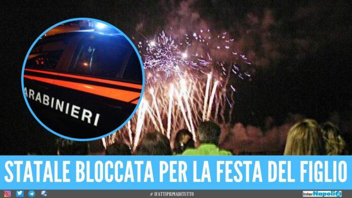 Bloccano i carabinieri per sparare i fuochi al battesimo, denunciati nel Napoletano
