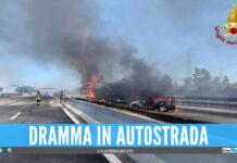 Autocisterna in fiamme sull'A1