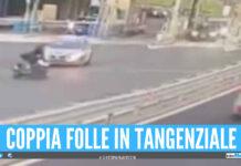 Follia in tangenziale a Napoli, impennate e zig zag a 200 Km/h con la moto: coppia nei guai