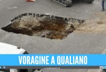 Voragine in strada a Qualiano