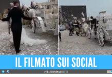 Il cavallo si sbizzarrisce, la sposa di Napoli cade in strada: il video è virale