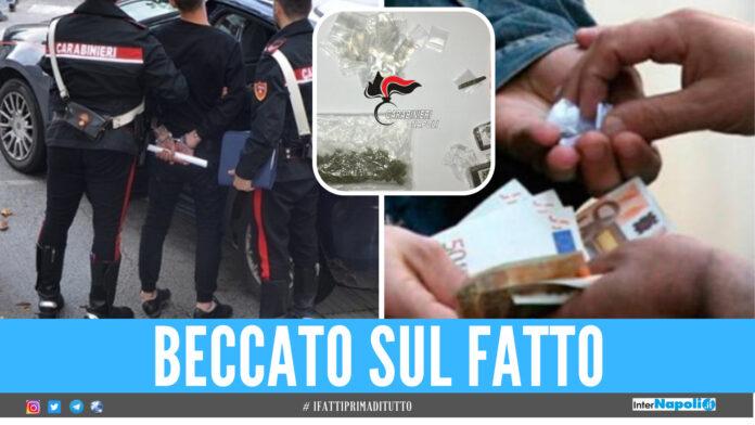 Immagine di repertorio, nel riquadro la droga sequestrata dai carabinieri