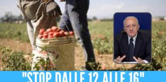 """Caldo africano in Campania, la richiesta a De Luca: """"Stop al lavoro all'aperto dalle 12 alle 16"""""""