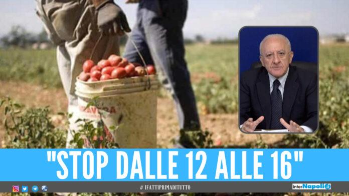 Caldo africano in Campania, la richiesta a De Luca: