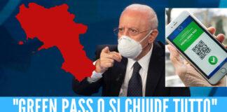 """""""Green Pass o si chiude di nuovo tutto"""", De Luca avvisa i cittadini della Campania"""