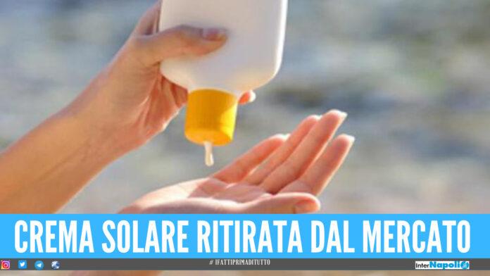 Crema solare ritirata dal mercato