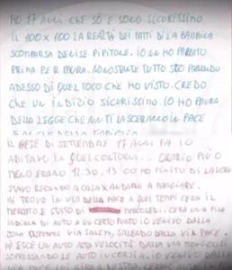 Parte della lettera inviata a Chi l'ha visto da un testimone