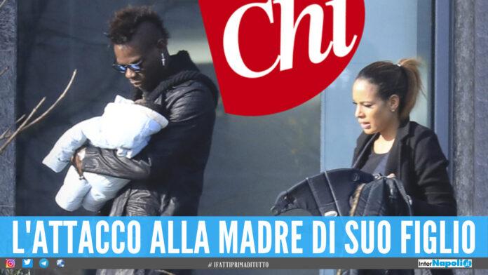Mario Balotelli con in braccio suo figlio Lion, a destre l'ex Clelia