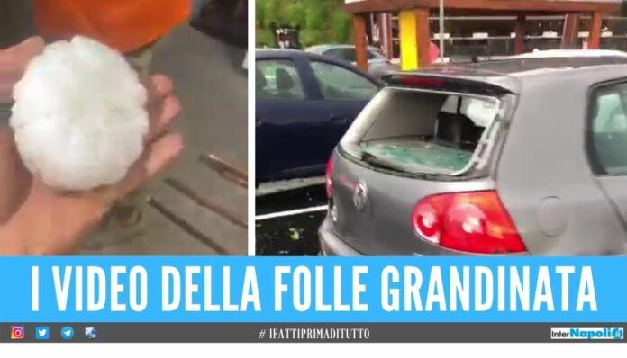 Piovono arance di ghiaccio, la grandine sfonda vetri e danneggia le auto