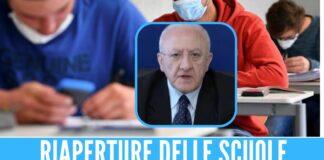 Riaperture scuole a rischio in Campania, De Luca Dipenderà dal numero dei vaccinati