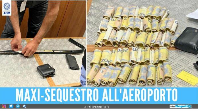 Sequestrati 400mila euro all'aeroporto contanti nascosti anche nella cinta