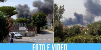 Enorme rogo a S. Giorgio a Cremano, le fiamme divampate vicino la scuola