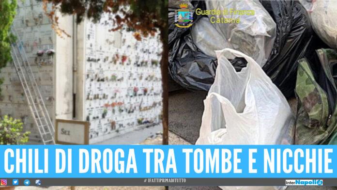 Quasi 100 Kg di droga nascosti al cimitero, due in manette: 'erba', 'fumo' e coca tra le tombe