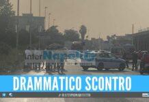 Incidente mortale a Giugliano, ambulanza e vigili sul posto