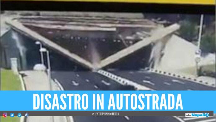 [Video]. Disastro in autostrada a Madrid, trave di un tunnel crolla all'improvviso
