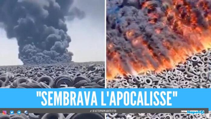 Brucia la discarica di pneumatici più grande al mondo, il video del disastro ambientale in Kuwait