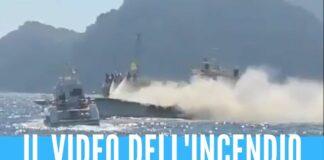 Yacht in fiamme nel Golfo di Napoli, 6 persone salvate dalla Guardia Costiera