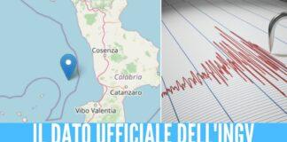 Terremoto in Calabria, scossa di magnitudo di 4.4