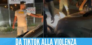 Nella foto il momento dell'aggressione in strada dopo gli scontri su 'TikTok'. I giovani, però, erano estranei ai fatti