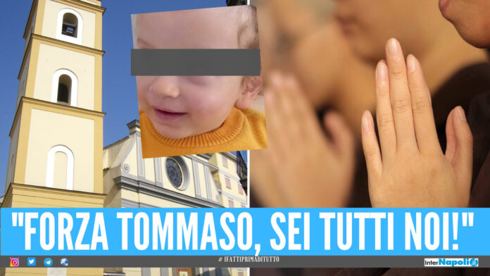 Giugliano fa il tifo per il piccolo Tommaso, il bimbo è in Rianimazione dopo l'operazione alla testa