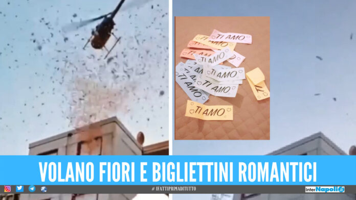 [Video] Elicottero a Quarto per l'onomastico della sposa, cadono dal cielo 5mila fiori e biglietti