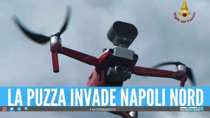 Miasmi tra Giugliano, Qualiano e Villaricca in azione i droni dei Vigili del Fuoco