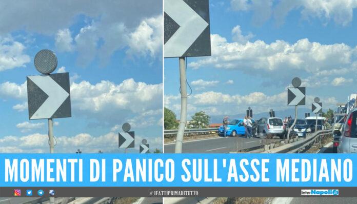 Incidente sull'Asse Mediano, schianto tra 5 auto tra le uscite Sant'Antimo e Aversa-Melito