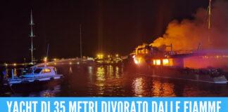 Terrore al porto, yacht di 35 metri distrutto dalle fiamme: c'erano 4 persone a bordo