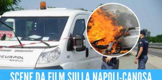 Assalto al portavalori in autostrada, incendiate 2 auto per bloccare il blindato