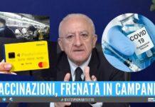 """Blocco delle vaccinazioni, De Luca: """"Colpa del Reddito di cittadinanza e del lavoro nero"""""""