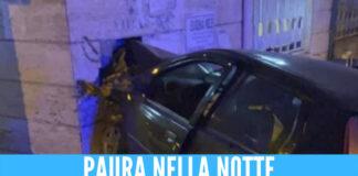 Spaventoso incidente a Napoli, auto si schianta contro il muro della banca