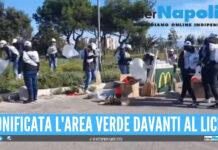 Giugliano, i dipendenti McDonald's e l'amministrazione comunale ripuliscono via Selva Piccola