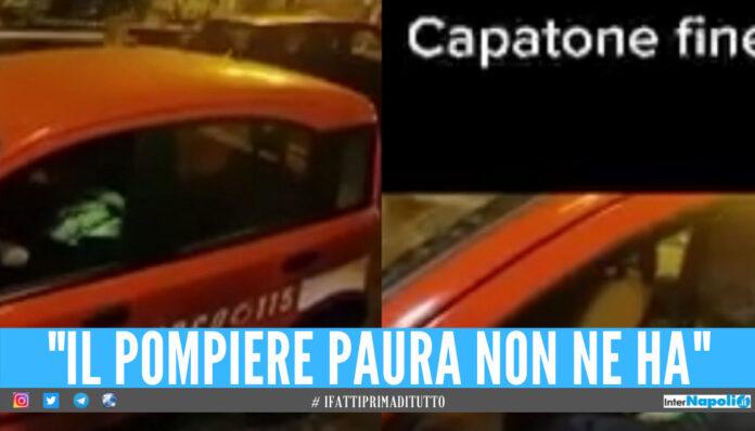 Ruba l'auto dei vigili del fuoco e la lascia a Castel Volturno, il video su TikTok