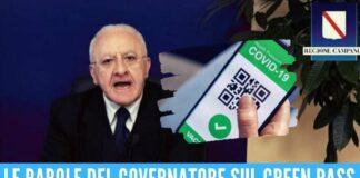 """De Luca contro i no-Green Pass: """"Pagatevi il tampone, il vaccino è gratis"""""""