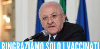 """Vincenzo De Luca festeggia: """"In Campania lockdown lontano, l'80% della popolazione è immunizzata"""""""